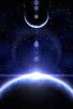 Nebulosa e planeta dois azuis Imagens de Stock Royalty Free