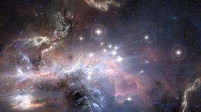 Nebulosa gas-polvere, fondo profondo dello spazio cosmico con le nuove stelle luminose illustrazione di stock