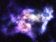 Nebulosa i djup yttre rymd med stjärnor Royaltyfria Bilder