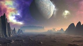Nebulosa, la luna ed il pianeta straniero illustrazione di stock