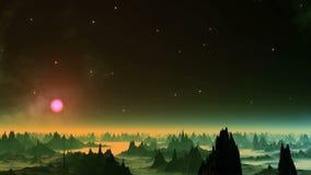Nebulosa luccicante nel pianeta dello straniero del cielo video d archivio
