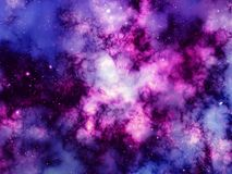Nebulosa och ljusa stjärnor i yttre rymd Vektor Illustrationer