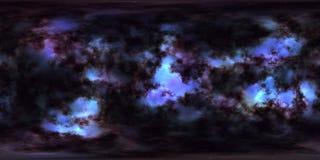 Nebulosa och stjärnor i panorama för miljö för grad HDRI för djupt utrymme 360 Royaltyfri Bild