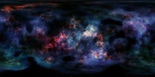 Nebulosa och stjärnor i panorama för miljö för grad HDRI för djupt utrymme 360 Arkivfoto