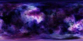 Nebulosa och stjärnor i yttre rymd 360 grad miljöpanorama Royaltyfri Foto
