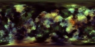 Nebulosa och stjärnor i yttre rymd 360 grad miljöpanorama Arkivbild