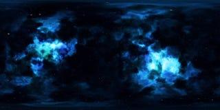 Nebulosa och stjärnor i yttre rymd 360 grad miljöpanorama Royaltyfri Fotografi