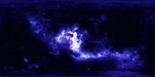 Nebulosa och stjärnor i yttre rymd 360 grad miljöpanorama Fotografering för Bildbyråer
