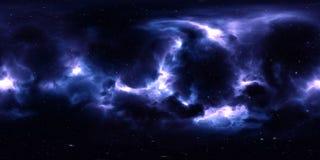 Nebulosa och stjärnor i yttre rymd 360 grad miljöpanorama Royaltyfri Bild