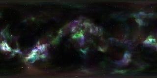 Nebulosa och stjärnor i yttre rymd 360 grad miljöpanorama Arkivfoton