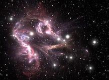 Nebulosa púrpura de la estrella del espacio stock de ilustración