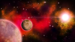 Nebulosa rossa nello spazio profondo con il pianeta girante e la stella luminosa ciclo illustrazione di stock