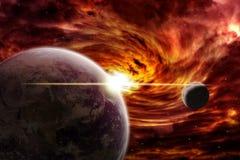 Nebulosa rossa sopra la terra del pianeta illustrazione di stock