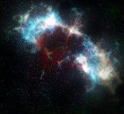 Nebulosa y estrellas de la nube del espacio exterior stock de ilustración