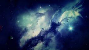 Nebulosa y galaxias en espacio exterior stock de ilustración