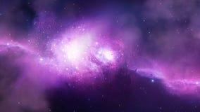Nebulosa y galaxias púrpuras en espacio exterior ilustración del vector