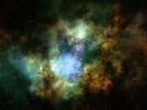 Nebulosabildande och stjärnaklunga i djupt utrymme Stock Illustrationer