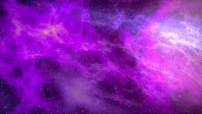 Nebulosafluga igenom i videoanimering för utrymme 4k stock illustrationer