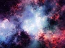 Nebulosan fördunklar i djup yttre rymd med stjärnor Royaltyfria Bilder