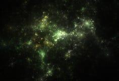 Nebulosas de color verde oscuro y amarillas y estrellas brillantes Foto de archivo libre de regalías