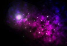 Nebulosas púrpuras en espacio profundo Foto de archivo