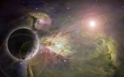 Nebulosas y planeta de Outerspace stock de ilustración