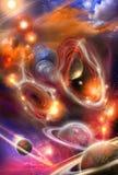 Nebulose e pianeti colorati nell'universo Fotografie Stock