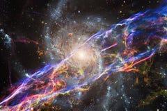 Nebulosor och stjärnor i yttre rymd, glödande mystiskt universum royaltyfria foton