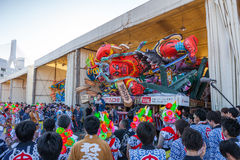 The Nebuta float with the crew. Stock Image