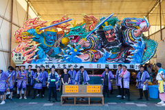 The Nebuta float with the crew. Stock Images