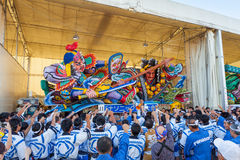 The Nebuta float with the crew. Stock Photos