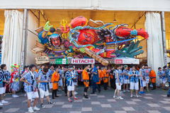 The Nebuta float with the crew. Royalty Free Stock Image