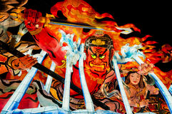 Nebuta lantern in Aomori, Japan. Red telephone booth in London taken near Harrods in South Kensington Knightsbridge stock photography