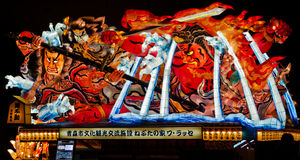 Nebuta lantern in Aomori, Japan. Nebuta lantern for Nebuta Matsuri (Nebuta festival). The festival is held annually from August 2 to 7 in Aomori, Japan stock image