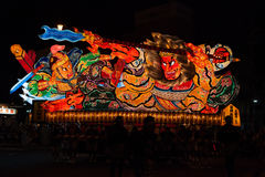 Nebuta pławika parada w Aomori mieście, Japonia na Sierpień 6, 2015 obraz stock