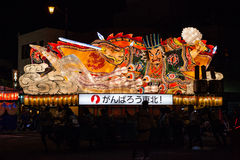 Nebuta pławika parada w Aomori mieście, Japonia na Sierpień 6, 2015 zdjęcia royalty free
