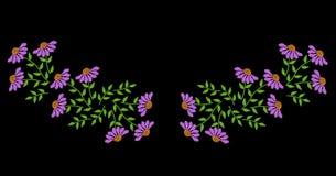 刺绣缝仿制民间花和绿色叶子nec的 免版税库存图片