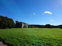 Necarne Castle in the distance Enniskillen Fermanagh Northern Ireland. Green field with Necarne Castle in the distance Enniskillen Fermanagh Northern Ireland Stock Photo