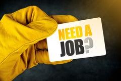 Necesite a Job Question en tarjeta de visita Imágenes de archivo libres de regalías