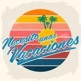 Necesito unas vacaciones - potrzebuję niektóre wakacji hiszpańskiego tekst ilustracji