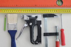 The necessary repair tools that every home craftsman should have. royalty free stock photo