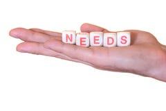 Necessidades escritas com dados de madeira em uma mão, isolada no fundo branco imagem de stock royalty free