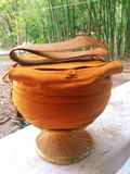 Monks alms bowl. Necessity of Thai Buddhism monk, use for load beg food contain inside Stock Images