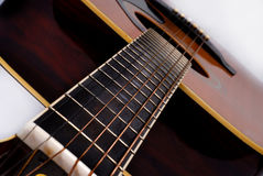 Neck of acoustic guitar Stock Photo
