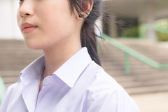 Neck and body parts of Asian Thai high schoolgirls student stock image