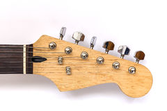Neck electric Guitar, headstock guitars and tuners on a white ba Royalty Free Stock Photos