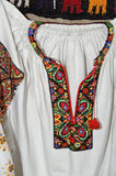 The neck embroidery of the woman Ukrainian shirt Stock Images
