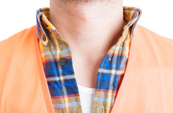Neck engineer in close-up wearing shirt and protection vest Royalty Free Stock Photography
