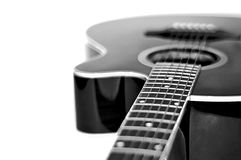 Neck of a guitar in black and white. Picture of Neck of a guitar in black and white stock photography