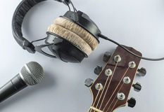 Neck guitar music concept headphones whitebackground. Neck guitar music concept headphones open whitebackground Royalty Free Stock Photography